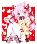 1girl alternate_hairstyle animal_ear_fluff animal_ears azur_lane bangs black_choker blush bow brown_footwear cat_ears cat_girl cat_tail chocolate chocolate_heart choker collarbone commentary_request covered_mouth eyebrows_visible_through_hair food full_body hair_between_eyes hair_bow hair_ornament hair_ribbon hands_together happy_valentine heart heart_hair_ornament heart_tail highres holding holding_food jewelry kisaragi_(azur_lane) long_sleeves off-shoulder_sweater own_hands_together pone red_background red_bow red_ribbon ribbon ring shoe_soles sleeves_past_wrists solo sweater tail thigh-highs twintails two-tone_background violet_eyes white_background white_legwear yellow_sweater
