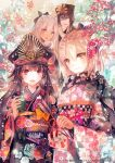 1boy 3girls alternate_costume arrow black_bow black_hair black_hat black_kimono black_scarf blonde_hair blush bow cherry_blossoms closed_eyes closed_mouth cover cover_page cup dark_skin doujin_cover ema eyebrows_visible_through_hair family_crest fate/grand_order fate_(series) floral_print hair_ornament hamaya hat holding holding_arrow holding_cup japanese_clothes kanzashi kimono long_hair long_sleeves military_hat multiple_girls new_year obi oda_nobukatsu_(fate/grand_order) oda_nobunaga_(fate) oda_uri okita_souji_(alter)_(fate) okita_souji_(fate) okita_souji_(fate)_(all) open_mouth peaked_cap pink_kimono print_kimono red_eyes red_kimono rioka_(southern_blue_sky) sash scarf smile tied_hair white_hair wide_sleeves