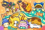 =_= beanie blanket blue_hat bow bowtie burning_leo cat_day commentary_request copy_ability drooling fangs flying_sweatdrops furoshiki galbel hat headphones kirby kirby_(series) lion magolor mouth_hold musical_note nago nintendo no_humans official_art orange_background paw_print red_neckwear rope scarfy sleeping tac_(kirby) theft tiger waddle_dee yarn yarn_ball