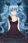 1girl absurdres artist_name black_dress black_ribbon blue_eyes blue_hair blush breasts bubble cleavage collarbone deep_sea_girl dress earrings eyebrows_visible_through_hair hair_ribbon hatsune_miku highres huge_filesize jewelry long_hair looking_at_viewer one_eye_closed parted_lips rachel_bouvier ribbon sleeveless small_breasts twintails underwater very_long_hair vocaloid watermark
