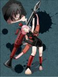 1boy 1girl black_hair female haruno_sakura male naruto pink_hair uchiha_madara