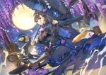 1girl bangs black_dress blush breasts brown_hair calligraphy_brush double_bun dress fate/grand_order fate_(series) fish full_moon hair_between_eyes hair_ornament large_breasts long_hair long_sleeves looking_at_viewer moon murasaki_shikibu_(fate) night night_sky paintbrush petals puffy_sleeves scroll seiza sitting sky smile teddy_(khanshin) tree umbrella very_long_hair violet_eyes
