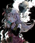 1girl :o backlighting bang_dream! bangs black_background black_feathers black_flower black_rose blue_flower blue_rose detached_sleeves dress feathers flower grey_hair hair_feathers highres itomugi-kun long_hair long_sleeves microphone minato_yukina music neck_ribbon paint_splatter red_feathers red_neckwear ribbon rose singing solo thorns upper_body yellow_eyes