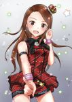 1girl :d arm_strap black_neckwear brown_hair cowboy_shot crown floating_hair grey_background highres idolmaster idolmaster_(classic) index_finger_raised long_hair looking_at_viewer minase_iori mogskg open_mouth prologue_rouge red_eyes red_shirt red_shorts shirt short_shorts shorts sleeveless sleeveless_shirt smile solo sparkle standing thigh_gap very_long_hair wristband