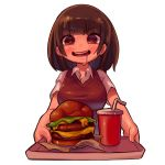 1girl bangs blunt_bangs blush breasts brown_hair collared_shirt cup drink drinking_straw eyebrows_visible_through_hair food hamburger heart heart-shaped_pupils highres holding holding_tray looking_at_viewer medium_hair more_e_4km open_mouth original saliva shirt short_sleeves simple_background smile solo sweater_vest symbol-shaped_pupils tray upper_body white_background white_shirt