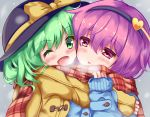 2girls :o ;d arm_up black_hat blue_coat blush breath cheek-to-cheek cold duffel_coat eyebrows_visible_through_hair green_eyes green_hair grey_background hair_between_eyes hairband hat hat_ribbon heart holding_scarf hug komeiji_koishi komeiji_satori looking_at_another multiple_girls one_eye_closed open_mouth pink_eyes plaid plaid_scarf purple_hair ribbon scarf shared_scarf short_hair siblings sisters sleeves_past_wrists smile touhou unory upper_body winter yellow_coat