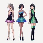 3girls bangs bare_shoulders bismuth black_footwear black_hair black_legwear blue_dress blunt_bangs boots breasts closed_eyes collarbone dark_skin dress full_body green_dress grey_hair hair_over_one_eye halterneck hand_on_hip high_heels kisaragi_yuu_(fallen_sky) long_hair looking_at_viewer multicolored multicolored_clothes multicolored_dress multiple_girls original ponytail profile purple_dress shiny shiny_hair shoes short_hair signature simple_background small_breasts smile standing thigh-highs thigh_boots white_background
