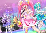 4girls amamiya_erena amplifier band bare_shoulders boots choker commentary_request cure_milky cure_selene cure_soleil cure_star drum earrings electric_guitar guitar hagoromo_lala hair_ornament highres hoshina_hikaru instrument jewelry kaguya_madoka magical_girl microphone multiple_girls precure satou_yasu see-through stage star star_earrings star_hair_ornament star_twinkle_precure