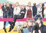 6+boys ^_^ aqua_eyes bandanna black_gloves black_hair blonde_hair blue_eyes blue_hair blush brown_hair choker closed_eyes closed_eyes cup daihannya_nagamitsu_(touken_ranbu) eyepatch fang gloves green_hair hands_in_pockets hands_together heshikiri_hasebe higekiri_(touken_ranbu) highres hizamaru_(touken_ranbu) japanese_clothes ko-man kouryuu_kagemitsu legs_crossed male_focus mikazuki_munechika multiple_boys nansen_ichimonji one_eye_closed ookurikara open_mouth ponytail red_eyes sandals shokudaikiri_mitsutada silver_hair sitting smile sparkle touken_ranbu track_suit tsurumaru_kuninaga twitter_username v violet_eyes yamanbagiri_chougi yamanbagiri_kunihiro yellow_eyes yunomi