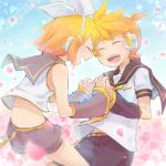 1boy 1girl back bare_shoulders bass_clef belt belt_buckle blonde_hair blush bow buckle cherry_blossoms closed_eyes commentary_request cowboy_shot crop_top detached_sleeves eighth_note forehead-to-forehead hair_bow hair_ornament hairclip hand_holding headphones interlocked_fingers kagamine_len kagamine_rin leaning_forward musical_note necktie petals ponytail quarter_note reki_(arequa) sailor_collar short_hair short_sleeves shorts sky smile staff_(music) vocaloid white_bow yellow_neckwear