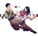 1boy 1girl apple card food fruit glasses long_hair playing_card scarf trick_(dorama) white_background yamakawa