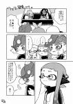 1boy 4girls blush comic commentary_request crown dark_skin domino_mask fangs hime_(splatoon) iida_(splatoon) inkling kirikuchi_riku long_hair makeup mascara mask medium_hair mohawk multiple_girls octarian octoling open_mouth pointy_ears short_hair smile sparkle splatoon splatoon_(series) splatoon_2 splatoon_2:_octo_expansion squidbeak_splatoon suction_cups tentacle_hair translation_request