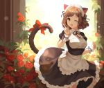 1girl ;d absurdres animal_ears apron bangs black_dress black_ribbon blush bow breasts brown_hair cat_ears cat_tail dress eyebrows_visible_through_hair fang flower frilled frilled_apron frilled_dress frills green_eyes hair_ribbon highres idolmaster idolmaster_cinderella_girls idolmaster_cinderella_girls_starlight_stage index_finger_raised looking_at_viewer maekawa_miku maid maid_headdress medium_breasts meshi-dan multiple_girls one_eye_closed open_mouth red_flower red_rose ribbon rose short_hair short_sleeves smile solo standing tail tail_bow tail_ribbon white_apron white_wrist_cuffs wrist_cuffs