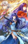 3girls alondite altina_(fire_emblem) aplche bare_shoulders blue_eyes blue_hair boots capelet covered_navel dress dual_wielding earrings fire_emblem fire_emblem:_akatsuki_no_megami gauntlets headband highres holding holding_sword holding_weapon huge_weapon jewelry long_hair looking_away looking_to_the_side micaiah multiple_girls nintendo pelvic_curtain purple_hair ragnell sanaki_kirsch_altina scratches sheath shoulder_armor side_slit silver_hair sleeveless sleeveless_dress sword turtleneck weapon yellow_eyes