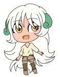 1girl boots chibi gijinka happy noelle_(sinamuna) open_mouth original personification pokemon shorts solo t-aroutachiikun thighhighs whimsicott white_hair yellow_eyes