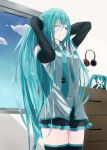 1girl adjusting_hair aqua_eyes aqua_hair arms_up bare_shoulders blush breasts cabinet character_doll clouds commentary detached_sleeves hair_ornament hair_ornament_removed hatsune_miku headphones headset highres long_hair medium_breasts messy_hair milaria necktie one_eye_closed skirt sky solo thigh-highs very_long_hair vocaloid window zettai_ryouiki