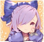 alternate_costume alternate_hairstyle blush_stickers granblue_fantasy hair_over_one_eye hair_ribbon hand_on_own_cheek harvin looking_at_viewer nio_(granblue_fantasy) pointy_ears puffy_sleeves purple_hair ribbon smile tadano_omake violet_eyes