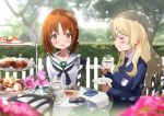 2girls alternate_hairstyle bangs black_neckwear blonde_hair blouse blue_sweater blurry blurry_background blurry_foreground blush brown_eyes brown_hair chair closed_eyes cookie cup dappled_sunlight darjeeling day depth_of_field dress_shirt emblem eyebrows_visible_through_hair flower food fuku_kitsune_(fuku_fox) girls_und_panzer hair_down hedge_(plant) holding holding_cup holding_saucer long_hair long_sleeves macaron multiple_girls neckerchief necktie nishizumi_miho ooarai_school_uniform outdoors pink_flower pink_rose rose saucer school_uniform serafuku shadow shirt short_hair sitting st._gloriana's_(emblem) sunlight sweater tea_party tea_set teacup teapot tiered_tray tree v-neck white_blouse white_shirt wind