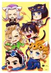 6+boys animal_ears aruti black_eyes black_hair black_lipstick blonde_hair blue_eyes bob_cut braid bruno_buccellati cat_ears cat_tail cattail chibi crossed_arms earrings fangs giorno_giovanna guido_mista hair_ornament hairband hairclip hat jewelry jojo_no_kimyou_na_bouken kemonomimi_mode leone_abbacchio lipstick lying makeup multiple_boys narancia_ghirga on_stomach open_mouth pannacotta_fugo plant signature silver_hair single_braid sitting smile stud_earrings sweat tail vento_aureo violet_eyes yellow_eyes