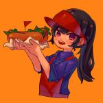 1girl apron black_hair blue_shirt blush collared_shirt cropped_torso fangs flag food hat highres holding holding_food hot_dog lettuce long_hair looking_at_viewer more_e_4km open_mouth orange_background original ponytail red_apron red_eyes red_flag red_hat shirt simple_background smile solo triangle upper_body