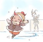 2girls alternate_costume beanie brown_hair closed_eyes flying_sweatdrops funf gloves granblue_fantasy harvin hat hoshikuzushi ice_skates ice_skating jacket_on_shoulders multiple_girls redhead scarf skates skating skirt song_(granblue_fantasy) sparkle thigh-highs