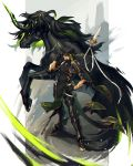 1boy black_footwear black_gloves black_legwear dark_skin dark_skinned_male elbow_spikes gloves greaves green_hair grin hand_on_hip hand_up highres horn male_focus multicolored_hair pixiv_fantasia_last_saga pointy_ears polearm pouch scar shoulder_armor simple_background smile spear spiked_boots sunglasses two-tone_hair unicorn weapon zinnkousai3850