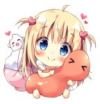 >_< 1girl :d ^_^ ahoge bangs barefoot bite_mark blonde_hair blue_eyes blush bowl chibi closed_eyes closed_eyes commentary_request dress food hair_ornament heart heart_hair_ornament holding long_hair looking_at_viewer open_mouth original pan_(mimi) rice rice_bowl simple_background sitting smile solo ten-chan_(pan_(mimi)) two_side_up white_background white_dress
