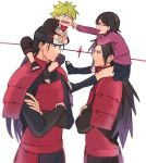 1girl 3boys black_hair blonde_hair female male naruto senju_hashirama uchiha_madara uchiha_sarada uzumaki_boruto