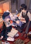 1boy 2girls ainarela animal_ears bangs black_hair black_legwear blunt_bangs book capelet cat_ears cat_tail chess_piece chessboard cup eyebrows_visible_through_hair fire fireplace green_eyes hat highres houkago_wa_isekai_kissa_de_coffee_wo indoors looking_at_viewer lying multiple_girls necktie nortori on_back open_book pleated_skirt purple_hair sitting skirt smile socks supertie tail teacup thigh-highs violet_eyes wariza white_legwear yellow_eyes yu_(isekai_coffee)