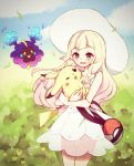 1girl :d bag bangs bare_arms bare_shoulders blonde_hair blue_sky braid carrying clouds collarbone cosmog cowboy_shot creatures_(company) day dress duffel_bag game_freak gen_1_pokemon gen_7_pokemon green_eyes hat highres leaf legendary_pokemon lillie_(pokemon) long_hair nintendo open_mouth outdoors pikachu pokemon pokemon_(creature) pokemon_(game) pokemon_sm see-through sky sleeveless sleeveless_dress smile sun_hat teeth totoma twin_braids white_dress white_hat