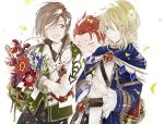 3boys aglovale_(granblue_fantasy) blonde_hair blush brothers brown_hair child closed_eyes flower granblue_fantasy lamorak_(granblue_fantasy) long_hair looking_at_another male_focus multiple_boys percival_(granblue_fantasy) red_eyes redhead siblings smile suou younger
