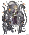 1boy 1girl angelic_alphabet arm_behind_back blindfold brown_hair chains emil_(nier) frills full_body glowing glowing_eyes grin halua hand_on_own_chest highres impaled ji_no looking_at_viewer nier nier_(series) official_art parted_lips siblings sinoalice skeleton smile square_enix white_background
