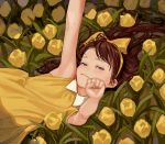 1girl artist_name blurry bow brown_hair depth_of_field dress fkey flower from_above hair_bow looking_at_viewer lying on_back original sketch smile yellow_dress yellow_flower