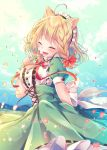 1girl :d animal_ear_fluff animal_ears back_bow blonde_hair blue_sky blurry blurry_background blush bow braid breasts center_frills closed_eyes clouds cloudy_sky commentary_request day depth_of_field dog_ears fang fingernails flower frills green_skirt hair_bow hand_up high-waist_skirt holding holding_flower medium_breasts nemuri_nemu open_mouth original outdoors puffy_short_sleeves puffy_sleeves red_bow ribbon-trimmed_skirt ribbon_trim shirt short_sleeves side_braid single_braid skirt sky smile solo white_bow white_shirt