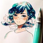 1girl artist_name bangs black_eyes blue_hair blush constellation eyebrows_visible_through_hair freckles liquid_hair looking_at_viewer meyoco original photo portrait short_hair solo sparkling_eyes traditional_media waves