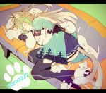1girl ahoge animal_ears atalanta_(fate) backless_outfit cat cat_day couch dated fate/apocrypha fate_(series) garter_straps gloves gradient_hair miyuki_ruria multicolored_hair paw_print sleeping sleeping_on_person tail tail_wagging too_many too_many_cats