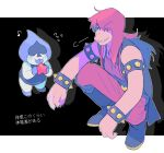 1boy 1girl black_background blue_skin blush_stickers boots bracelet deltarune eyes_visible_through_hair fingernails flying_sweatdrops highres jewelry lancer_(deltarune) long_hair looking_at_another ouse_(otussger) sharp_fingernails shoes sleeveless smirk spiked_bracelet spikes squatting susie_(deltarune) tongue tongue_out