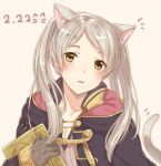 1girl animal_ears book brown_eyes cat_day cat_ears cat_tail fake_animal_ears fake_translation female_my_unit_(fire_emblem:_kakusei) fire_emblem fire_emblem:_kakusei gloves haru_(nakajou-28) holding holding_book hood hood_down long_sleeves my_unit_(fire_emblem:_kakusei) nintendo parted_lips robe simple_background solo tail twintails upper_body white_hair