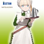 1girl alternate_costume apron bangs blonde_hair blue_eyes blunt_bangs cup dress enmaided frilled_apron frills gradient gradient_background green_background green_dress hair_ornament hair_ribbon isetan_(department_store) kantai_collection logo long_hair looking_at_viewer maid maid_headdress mitsukoshi_(department_store) official_art ribbon saucer shibafu_(glock23) shin'you_(kantai_collection) side_ponytail solo teacup teapot tray white_apron yellow_ribbon