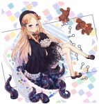 1girl abigail_williams_(fate/grand_order) absurdres black_bow black_dress black_footwear black_hat blonde_hair blue_eyes blush bow dress fate/grand_order fate_(series) floating_hair frilled_shorts frilled_sleeves frills full_body hair_bow hat highres key long_hair looking_at_viewer mary_janes orange_bow polka_dot polka_dot_bow shoe_bow shoes shorts shorts_under_dress sleeves_past_wrists smile solo stuffed_animal stuffed_toy teddy_bear tentacle usagi_an white_shorts
