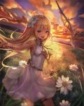 1girl armpits belt blonde_hair bracelet brown_eyes clouds commentary_request dragon dress field flower flying grass hair_flower hair_ornament highres jewelry long_hair mouth_hold necklace open_mouth original outdoors outstretched_hand sachi_(160332) sky sleeveless sleeveless_dress smile sunset thigh_strap white_dress wings