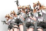 5girls :d animal_ears belt blonde_hair breasts cat_ears cat_tail clenched_hand fang fingerless_gloves girls_frontline gloves grey_eyes gun headset highres holding holding_gun holding_weapon idw_(girls_frontline) long_hair multiple_girls necktie open_mouth panties shorts smile suspenders tail teeth thigh_strap twintails underwear weapon yaruku