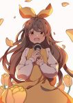 1girl absurdres bow brown_eyes brown_hair devotion dress du_meishin flower guoguo hair_bow hand_up highres holding holding_microphone long_hair long_sleeves looking_at_viewer microphone open_mouth shirt simple_background solo standing white_background white_shirt yellow_bow yellow_dress yellow_flower