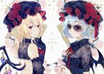 2girls alternate_costume artist_name ascot back_cutout bangs bare_shoulders bat_wings birdcage black_dress black_gloves black_hat blonde_hair blue_hair breasts brooch cage chains commentary_request crystal detached_sleeves dress earrings ekita_xuan eyebrows_visible_through_hair fishnets flandre_scarlet flower from_side gem gloves hair_between_eyes hand_up hat hat_flower hat_ribbon jewelry looking_at_viewer mob_cap multiple_girls nail_polish neck_ribbon one_side_up own_hands_together parted_lips pink_flower pink_rose puffy_short_sleeves puffy_sleeves red_eyes red_flower red_nails red_neckwear red_ribbon red_rose remilia_scarlet ribbon ring rose short_sleeves siblings sisters small_breasts sunglasses touhou upper_body white_background wing_collar wings yellow-framed_eyewear