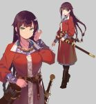 1girl arrow belt braid brown_hair earmuffs fangdan_runiu full_body green_eyes long_hair multiple_braids original quiver scabbard sheath sheathed simple_background sword upper_body weapon