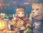 1girl absurdres anbe_yoshirou animal_ears bangs blunt_bangs bodysuit byakko_(xenoblade) cat_ears cup food gloves highres looking_at_viewer nintendo niyah noodles open_mouth ribbon silver_hair tiger white_gloves xenoblade_(series) xenoblade_2 yellow_bodysuit yellow_eyes yellow_ribbon