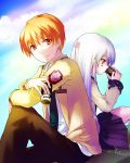 1boy 1girl angel_beats! back-to-back bangs blazer clouds drinking eyebrows_visible_through_hair hair_ornament highres holding_drink jacket key_(company) knee_to_chest long_hair long_sleeves looking_at_viewer myaaco necktie orange_eyes orange_hair otonashi_(angel_beats!) school_uniform shinda_sekai_sensen_uniform shirt silver_hair simple_background sitting skirt sky smile tenshi_(angel_beats!) uniform yellow_eyes