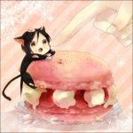 1boy :o animal_ears cat_ears cream food fruit kuroshitsuji macaron open_mouth sebastian_michaelis strawberry