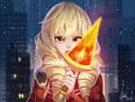 1girl blonde_hair breasts cape cityscape commentary commission drill_hair english_commentary erika_wagner eyebrows eyelashes glowing glowing_sword glowing_weapon holding holding_weapon lips long_hair looking_at_viewer medium_breasts night red_eyes rosdi short_sword signature solo sword twin_drills under_night_in-birth under_night_in-birth_exe:late[st] weapon