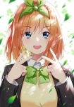1girl :d bangs black_jacket blazer blonde_hair blue_eyes blush bow bowtie clover commentary_request double_v eyebrows_visible_through_hair fingernails go-toubun_no_hanayome green_bow green_nails green_neckwear hair_bow highres jacket light_particles long_fingernails long_sleeves looking_at_viewer motion_blur multicolored_hair nail_polish nakano_yotsuba open_clothes open_jacket open_mouth orange_hair round_teeth school_uniform short_hair simple_background smile solo teeth two-tone_hair upper_body upper_teeth v white_background zhanzheng_zi
